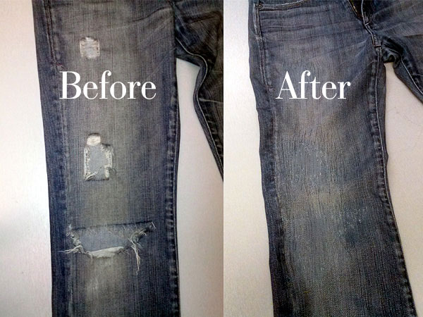 Repaired jeans made new